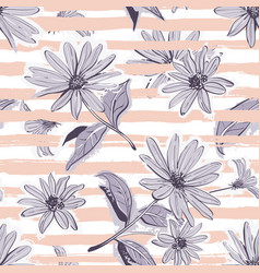 Flower pattern seamless elegant pastel striped vector