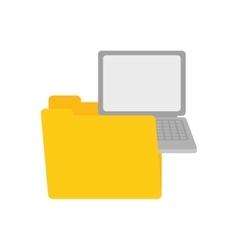 folder data laptop device gadget vector image