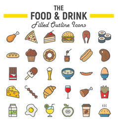Food and drink filled outline icon set meal signs vector