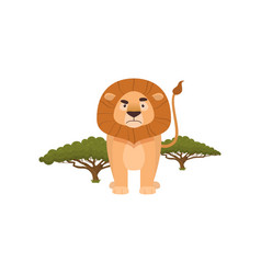 Forbidding lion stands with tail holding high vector