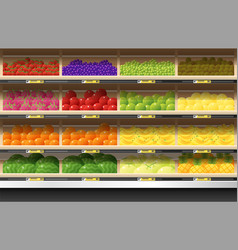 Fresh fruits display on shelf in supermarket vector