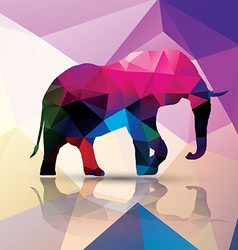 Geometric polygonal elephant pattern design vector image