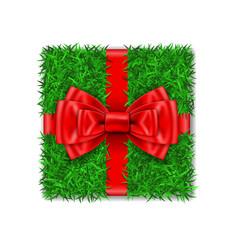 gift box 3d green grass box top view red ribbon vector image