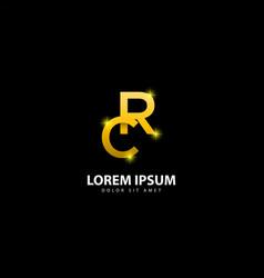Gold letter r logo rc letter design with golden vector