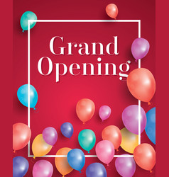 Grand opening invitation with white frame and vector