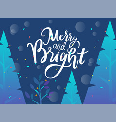 greeting xmas card with fir-tree and snow vector image