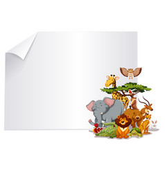 group of animal paper frame vector image