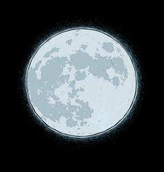 halloween comic icons - black cat aginst moon vector image