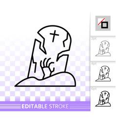 halloween tombstone simple black line icon vector image
