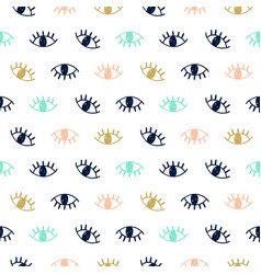 Hand drawn seamless pattern with open eyes vector