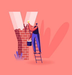 Happy smiling woman stand on ladder holding bucket vector