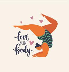 Happy yoga girl happy body positive concept vector