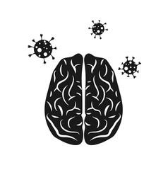 human brain coronavirus covid-19 concept vector image