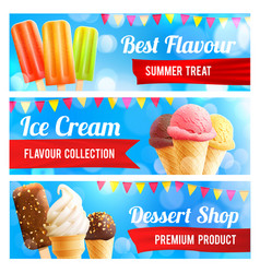 Ice cream chocolate and vanilla dessert 3d banner vector