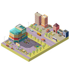 Isometric city center with shopping mall vector