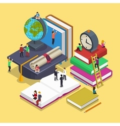 Isometric education graduation concept with people vector image