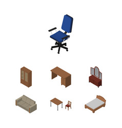 Isometric furniture set of couch bedstead chair vector