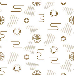 Japanese seamless nature pattern in gold vector