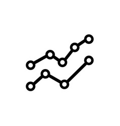 Line graph with points flat icon vector