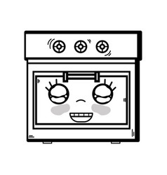 Line kawaii cute happy oven technology vector