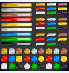 Metallic badges and buttons in different colors in vector