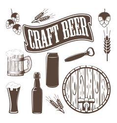 monochrome brewery icons vector image