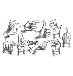 multiple female caucasian hand gesture set vector image