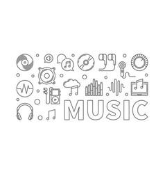 music modern horizontal banner in thin line vector image