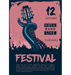 Music poster template for rock concert Octopus vector