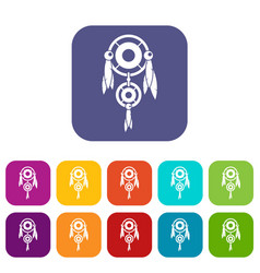 Native american dreamcatcher icons set flat vector
