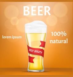 natural beer concept banner realistic style vector image