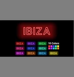 Neon name of ibiza island vector