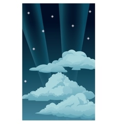 Night sky stars clouds light rays vector