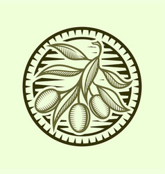 Olive branch icon in stylized round frame vector
