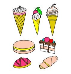 Pastries cakes and ice cream icon set vector image