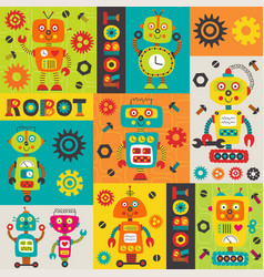 Pattern with colorful robots vector