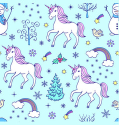 Pattern with unicorns and other elements vector