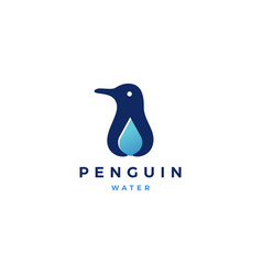 penguin water drop logo icon vector image