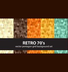 Pentagon pattern set retro 70s seamless vector