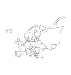 Political map europe simplified black vector