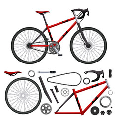 Realistic bicycle parts set vector