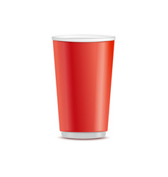 Red plastic disposable cup takeaway drink vector