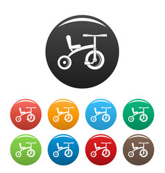 Retro tricycle icons set color vector