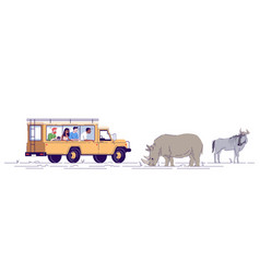 Safari journey flat doodle people observing vector