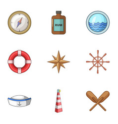 Seafarer icons set cartoon style vector