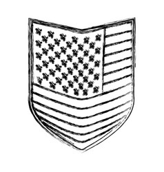 shield of flag united states of america monochrome vector image