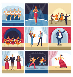 Singers and musicians on concert stage vector