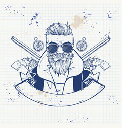 sketch hunter man with beard vector image