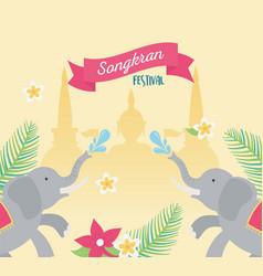 Songkran festival elephants water splashes temple vector