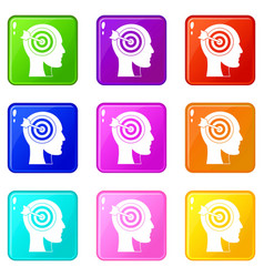 target in human head icons 9 set vector image